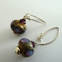 purple swirl lampwork earrings