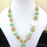 lampwork and ceramic necklace