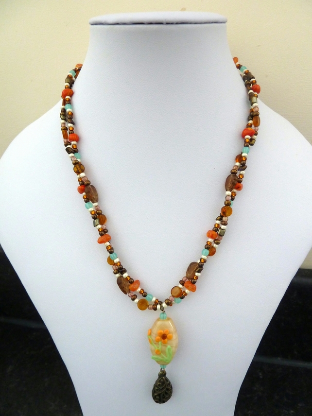lampwork double stranded necklace