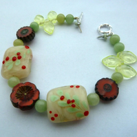 red berry lampwork bracelet