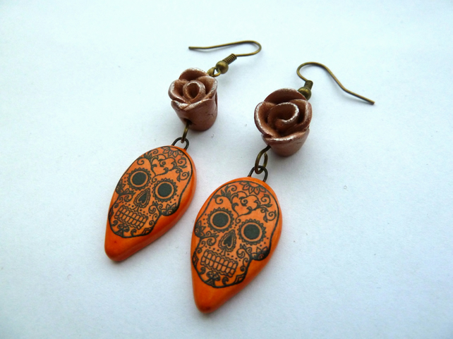 orange day of the dead earrings