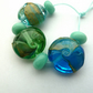 blue and green shard lampwork beads