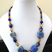 lapis and lampwork necklace