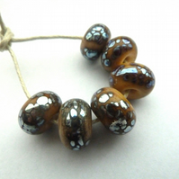 ivory and silver lampwork beads