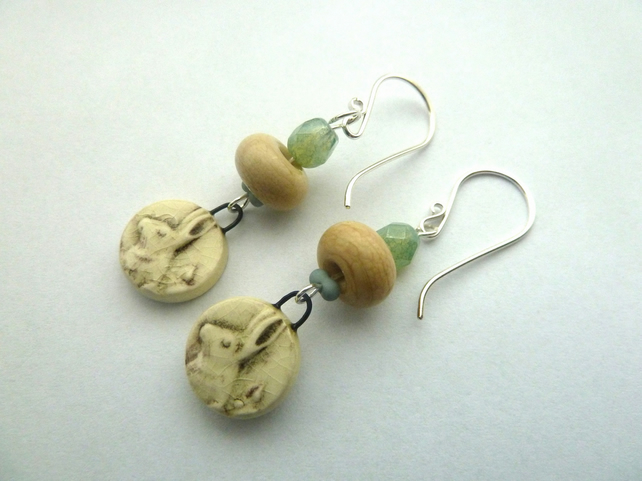 ceramic and lampwork hare earrings