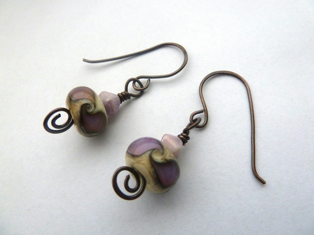 lilac swirl copper and lampwork earrings