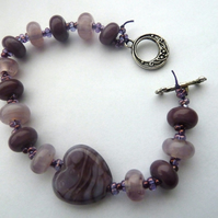 purple heart lampwork glass bracelet