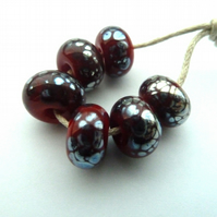 red and silver frit beads
