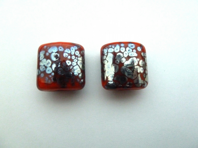 orange and silver frit lampwork glass bead pair