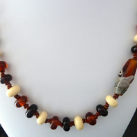 Amber lampwork glass bead necklace