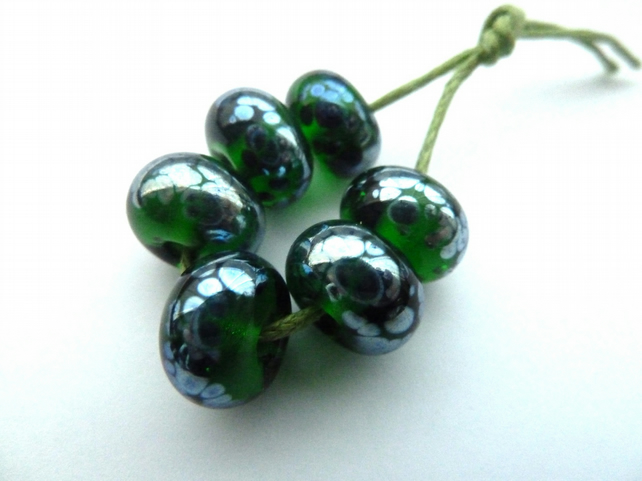 green shine lampwork glass beads