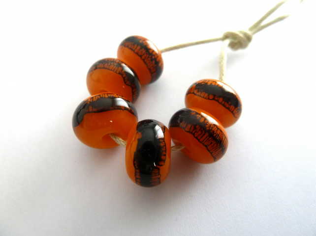 orange web lampwork glass beads