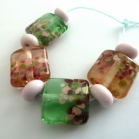 blossom lampwork glass bead set