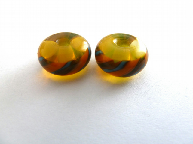 yellow twist lampwork glass bead pair