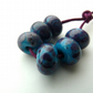 blue and purple frit lampwork glass beads