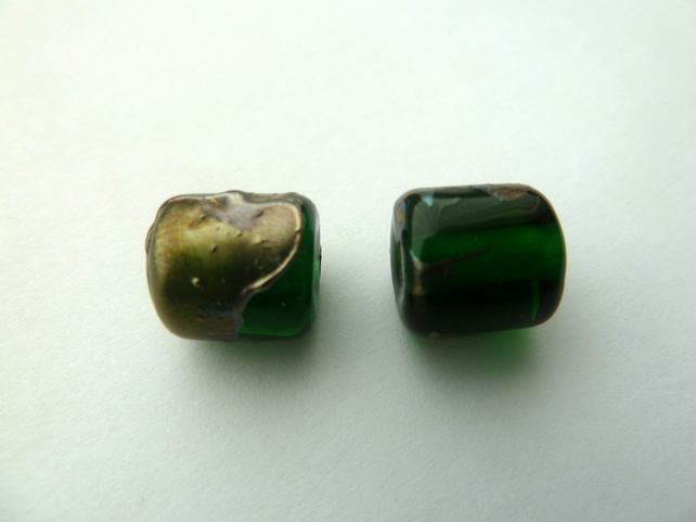 green and metal shard lampwork glass beads