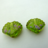 green sea shell lampwork glass beads
