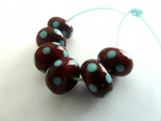 chocolate and turquoise spots lampwork glass beads