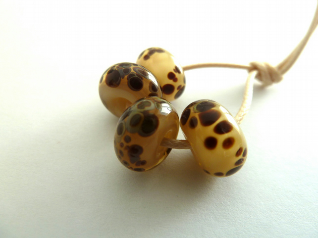 cream speckled handmade lampwork glass beads