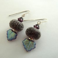purple sterling silver lampwork earrings