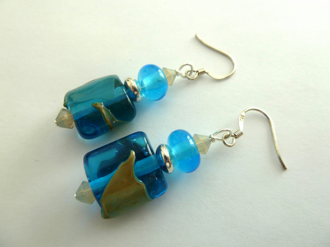 turquoise lampwork and sterling silver earrings