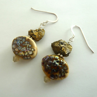 gold and silver lampwork earrings