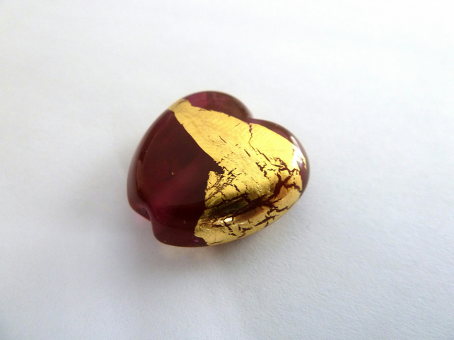 cranberry and gold heart lampwork glass bead