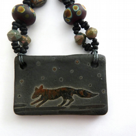fox lampwork and ceramic necklace