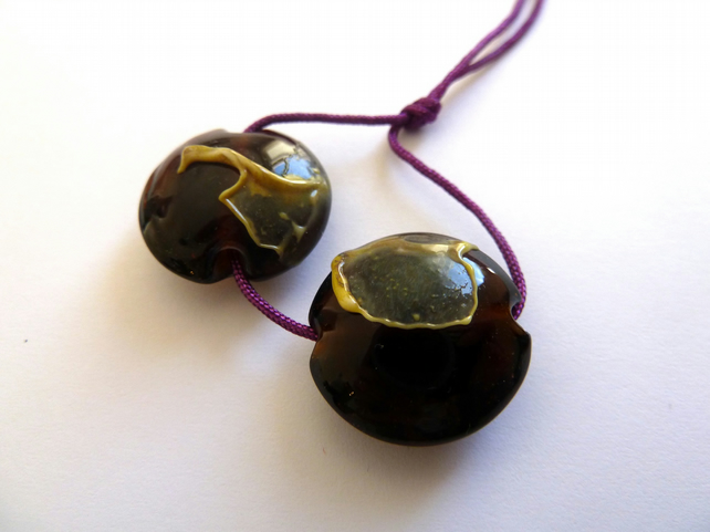 amber shard lentil lampwork glass beads