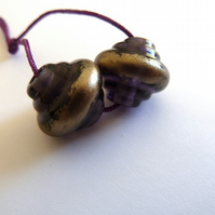 purple ornate pair lampwork glass beads