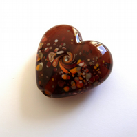 amber heart, lampwork glass bead