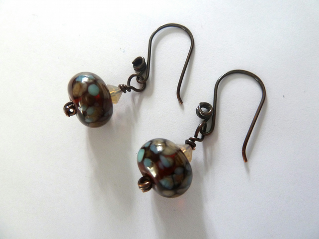 amber lampwork and copper earrings