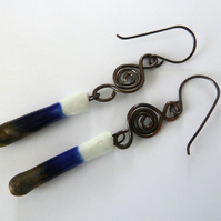 blue ceramic and copper earrings