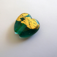 teal and gold heart lampwork bead