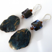blue leaf silver and lampwork earrings