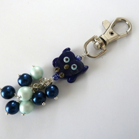 SALE blue owl bag charm
