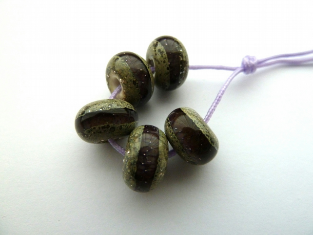 purple wrapped handmade lampwork glass beads