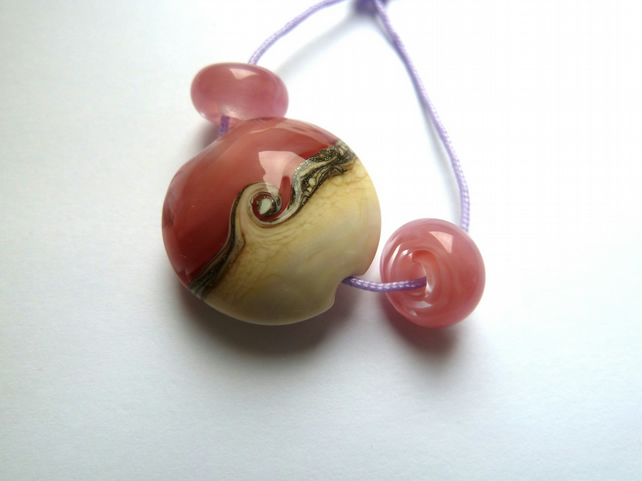 pink sands focal lampwork glass bead