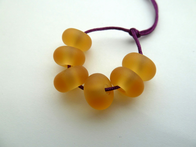 amber spacer lampwork glass beads