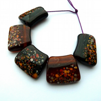 autumn bib lampwork glass beads