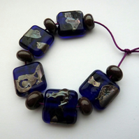 blue shard lampwork glass beads