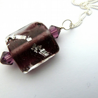 sterling silver chain with lampwork pendant