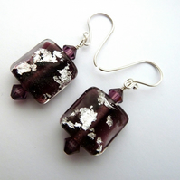 sterling silver and lampwork glass earrings