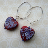 red and purple heart silver earrings