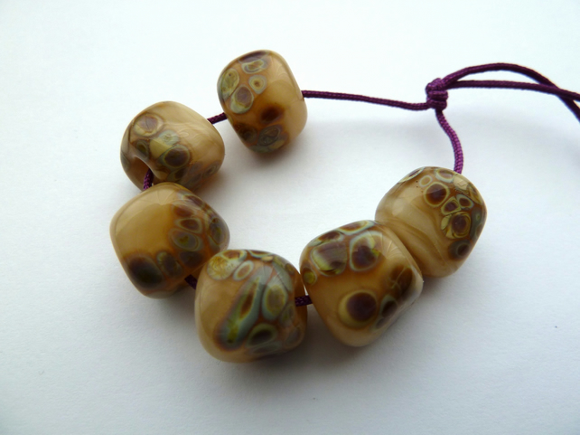 cream nugget lampwork glass beads