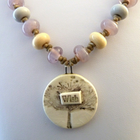 lampwork and ceramic wish necklace
