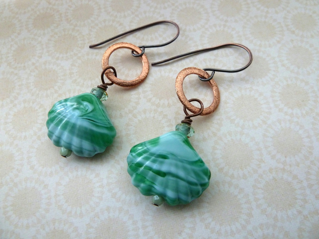 lampwork and copper sea shell earrings