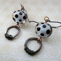 lampwork and copper earrings