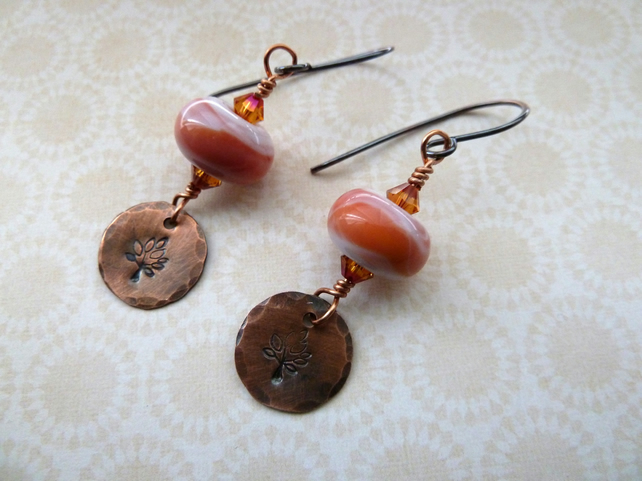 copper tree lampwork earrings