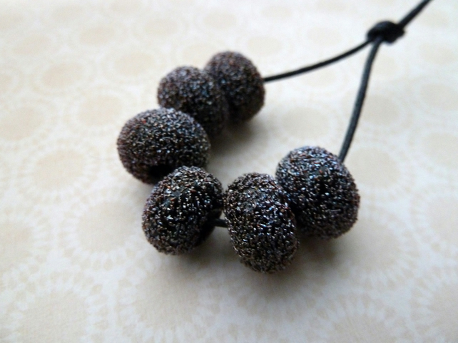 handmade lampwork glass beads, black star dust